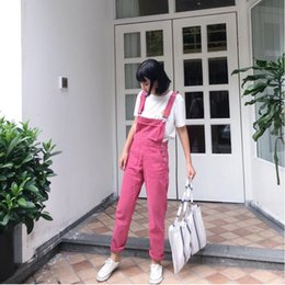 red denim overalls Canada - Hot 2018 spring autumn new women rose red washed denim trousers women's students piece pants trousers casual cowboy pants tide