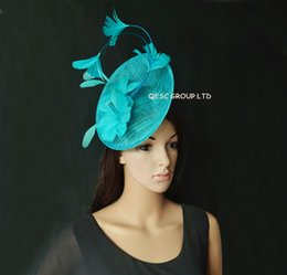 f3ccad511906b Red hats fascinatoRs online shopping - New Arrival Turquoise blue Feather  Fascinator sinamay fascinator hat for