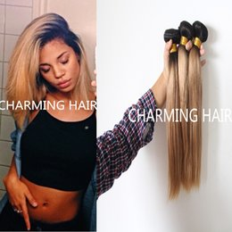 Straight Hair Weave Styles Canada - new style #1b #27 honey blonde dark root straight ombre 2 tone colored virgin brazilian humn hair weave bundles, two tone hair