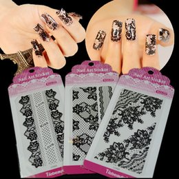 Discount 2d 3d nail designs 2017 2d 3d nail designs on sale at 10 sets new lace flower design 3d design tip diy nail art nail stickers decals black lace for nail art nail tools ns15 prinsesfo Gallery