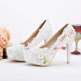 Chinese  12cm New Wedding Shoes Pageant Wedding Party Dress Shoes Custom Made Graceful Lace Flower Bridal Shoes Pumps Satin Material manufacturers