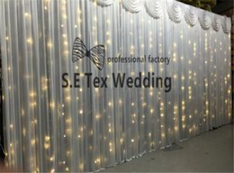 $enCountryForm.capitalKeyWord NZ - One Set 3m*6m Ice Silk Wedding Backdrop Curtain \ Stage Background With Led Light In White Color Include Pipe Stand