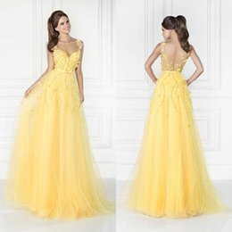 Tarik Ediz Robe En Cristal Tulle Pas Cher-Dazzing 2015 Robe Tarik Ediz Robes de bal bon marché jaune jonquille Backless Party Soirée Paillettes long Sheer Pageant Occasion Robes Sexy Tulle