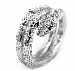 Discount wholesale exaggerated bracelet - Luxury gold silver snake diamond bracelet cuff 2 layers exaggerated personality punk bracelets bangle wristband men wome