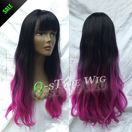 $enCountryForm.capitalKeyWord NZ - Beauty color wavy hair wig, Two tone Ombre style black root purple red color hair sparse cut air fringe wigs for fashion women