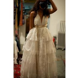 $enCountryForm.capitalKeyWord Canada - 2019 Sexy Deep V-Neck Lace Tiered Skirt A-Line Wedding Dresses Criss Cross Straps Back Boho Bridal Gowns Vestido De Novia