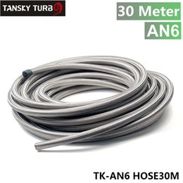 Discount hose tansky - Tansky -NEW AN6 Braided Stainless Steel RUBBER Fuel Line Oil Hose 30M 3.3FT TK-AN6 HOSE30M