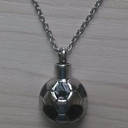 football pendants NZ - Lily Stainless Steel Football Urn Pendant Cremation Jewelry Necklace Memorial Ash Keepsake with gift bag and chain