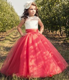 Vestido De Melón Largo Baratos-Water Melon Long Girl's Dresses del desfile Jewel Beaded Tulle Skirt Ball Girl Flower Girl Dress Fiesta de cumpleaños Christmas Communion Gown Barato