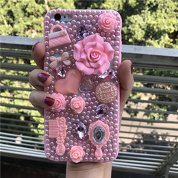 Rhinestone Case For S5 NZ - Bling Pink flower Pearl diamond Jeweled Cover Case for Samsung galaxy Note 8 5 4 3 S5 4 3 S8 S7 S6 S8 Plus J3 J5 J7