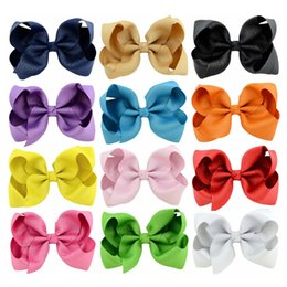 bb kids hair clips Canada - 4.3 Inchs Baby Girls Hairbow Clips Kids Solid Color Hair Accessories Infants Bows With Clip Trendy BB Hairpins Ribbons for School
