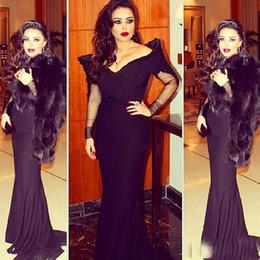 $enCountryForm.capitalKeyWord Canada - Saudi Arabic Black Mermaid Evening Dress Sexy Off The Shoulder Long Sleeves Dubai Kftan Abaya Prom Dresses 2016 Robe De Soiree