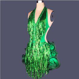 Latin Salsa Dance Dresses Canada - 2016 Adult Child Latin Salsa Dance Sequin Fringe Dress Backless Half Back Women Girls Stage Costumes Tassel Cha Cha Ballroom Skirt FN022