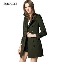 Abrigo Británico Del Invierno Del Estilo De Las Mujeres Baratos-BURDULLY British Style abrigo femenino Army Green Coat Nuevo Spring Warm High Quality abrigo de malla Women 2017 Autumn Winter Trench