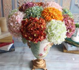 Discount silk hydrangea wedding centerpieces - European Silk Single Stem Hydrangea 45cm Length Artificial Hydrangea Flowers Circle Hydrangeas Large Flower Head for Wed