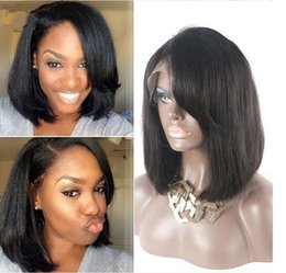 Virgin Hair Wigs For Sale Canada - Short full lace human hair wigs yaki straight bob u part wig for black women lace front wig 100% virgin human hair stocked sale