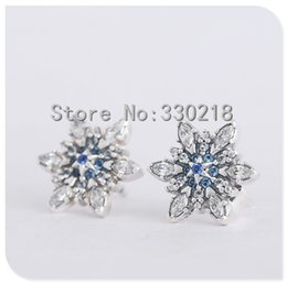 pandora snowflake NZ - Compatible with Pandora Jewelry Snowflake Silver Stud Earrings With Blue Crystals 925 Sterling Silver Jewelry DIY Wholesale