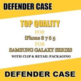 Venta al por mayor de Estuche para la serie Hot Defender para iPhone 8 7 Capa completa de múltiples capas con carcasa de clip para el cinturón para Samsung Note8 S8 Plus con paquete minorista