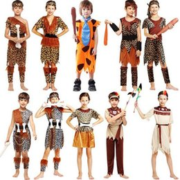 Barato Vestido Para Crianças Indianas-2018 New Boys Girls Africano Original Indian Savage Costume Kids Wild Cosplay Costumes Halloween Carnival Fancy Dress Supplies