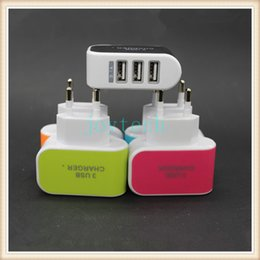 $enCountryForm.capitalKeyWord NZ - LED 3 port USB charger 5V 3.1A EU ES plug AC power adapter candy color travel wall charger for cell phone,tablet