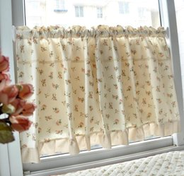 2pcs New Drape Ark Curtain Shade Coffee Small Kitchen Short Curtain  130*60cm Half Partition Curtain Rural Style Curtain CT 005