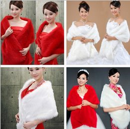 white stole fur bridal UK - 2015 New Arrival Cheap Red White Faux Fur Wedding Bridal Wraps Winter Woman Shawl Cape Stole Bride Bolero Free Shipping In Stock