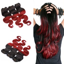 $enCountryForm.capitalKeyWord Canada - DHL free shipping 3pcs lot 1b red ombre brazilian virgin hair extensions body wave weave 2 two tone colored human hair weft bundles