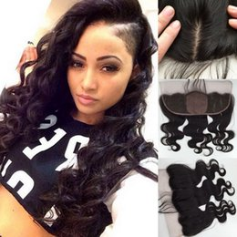 lace frontal pieces Australia - Malaysian Body Wave Wavy Silk Base Lace Frontal 13x4 Virgin Human Hair Silk Top Lace Frontal Closure Pieces With Baby Hair Bleached Knots