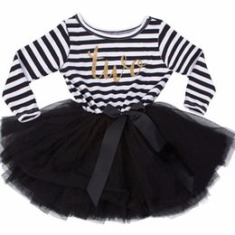 Chinese  Wholesale- Newborn Baby Girl Dress Stripe Kid Boutique Clothing Baby Kids Frocks Designs Children Party Dresses For Toddler Girls 0- 2Years manufacturers