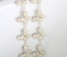 wedding dress rhinestone trim 2019 - 1 Yard Sparkle Rhinestones Crystals Pearl Butterfly Shape Silver Plated Ribbon Chain Trim Fow Sewing Wedding Dress Diy C
