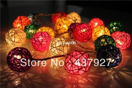 Wholesale Hot lights multi color Rattan ball bedroom decor brand set Patio Party String Fairy Lights Wedding home Xmas decoration bar