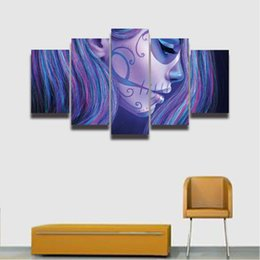 Painting Faces Australia - 5 Panel Canvas Wall Art Sugar Skull Girl Face Painting HD Prints Modular Picture for Home Decor Living Room Decorate Bedroom