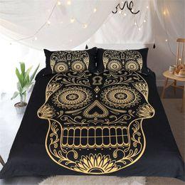 golden gilt skull bedding set dovet cover floral pillow shams for teens boys children adults home textiles animal bedspreads european styles