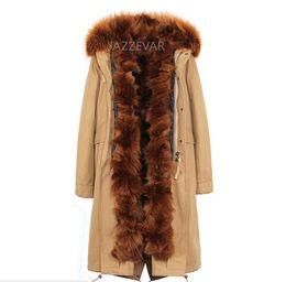 Wholesale fox fur trimmed coat resale online - caramel fur trim Jazzevar brand fox Fur lined khaki X long parka winter snow coats