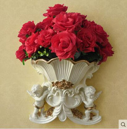 Three vase online shopping - Vases artificial flowers resin angel wall mounted flower vase with golden & Three Vase Online Shopping | Three Vase for Sale