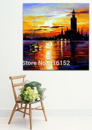 sailing paintings NZ - Palette Knife Oil Painting Sailing Boat on Dust Sea View Picture Printed On Canvas For Office Home Wall Art Decor