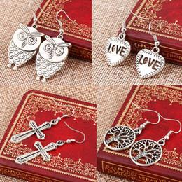 Animal Handmade Canada - Mixed bohemian earrings handmade tortoise owl cross tree charms earrings statement bohemian silver colors cute animal dangles bulk price