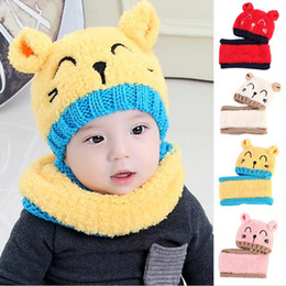 cat hat crochet NZ - Children Wool Knit Hat Scarf Set Baby Cute Crochet Warm Thick Cashmere Cat Ear Cap Beanie Autumn Winter Girls Boys Scarves