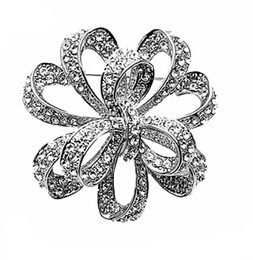 flower brooches Canada - Free Shipping ! Rhodium Silver Gold Plated Cz Crystal Large Flower Diamante Party Brooch Prom Jewelry Gift