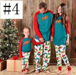 Xmas Christmas full print coloful deer Kids Adult Family Matching Pajamas  2pcs Set Parents Children snowman Sleepwear Nightwear bedgown f409c8f69
