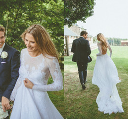Requintado 2015 Vestidos De Casamento Com Manga Lace Ilusão Open Voltar Applique Sheer vestido de novia Nupcial Vestidos de Baile Partido Feito Sob Encomenda venda por atacado