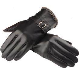 $enCountryForm.capitalKeyWord Australia - Wholesale-New Men Genuine leather gloves sheepskin gloves warm winter velvet handschuhe leather driving gloves Free Shipping