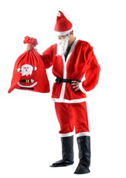 adult santa claus suit UK - Christmas Costume 7pcs set Santa Claus Costume Adults christamas suit adults Christmas Costume Christmas Party Costume