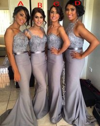 Robes De Demoiselle D'honneur Gris Sequin Pas Cher-Gris Sirène Robes de mariée 2015 Mixte Style Maid of robes honneur Robes Appliques Perles Paillettes Satin Party long mariage