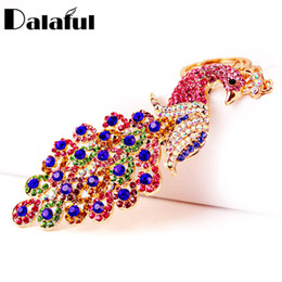 noble rings 2019 - beijia Gallant Full Crystal Peacock Key Chains Rings Holder Noble Purse Bag Buckle Pendant For Women Keyrings KeyChains