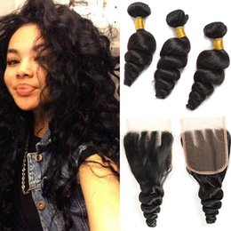 $enCountryForm.capitalKeyWord Australia - Wholesale Brazilian Hair Cheap 8A Peruvian Indian Malaysian Hair Extension Loose Wave 3 Bundles With Lace Closure 8-30 inch Natural Color