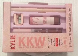 Barato Conjunto De Lábios-Novo Kylie KKW 6 Pieces Of Fation Conjunto de maquiagem Lipstick Lip Gloss eye Brow Pencil Lipliner 6 em 1 conjunto By Kylie Cosmetics