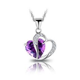 Heart Necklaces Silver NZ - Crystal Pendant Necklaces Silver Chains & Lavender Heart Pendants Women Fashion Necklaces Wholesale NL039