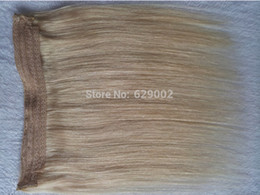 fishing line hair extensions Canada - Indian Human Hair No Clips Halo Flip in Hair Extensions, 1pc 100G Color #613 Easy Fish Line Hair Weaving
