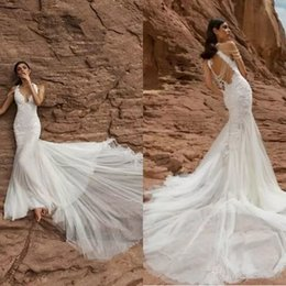 Barato Vestido De Sereia De Rendas De Pnina Tornai-Gorgeous 2017 Pnina Tornai Lace Mermaid Wedding Dresses Sexy Backless Beading Chapel Train Vestidos de Noiva V Neck Custom Made Wedding Dress